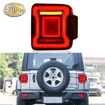 2PCS Car LED Tail Light Taillight For Jeep Wrangler 2018 2019 2020 Rear Fog Lamp + Brake Light + Reverse + Dynamic Turn Signal
