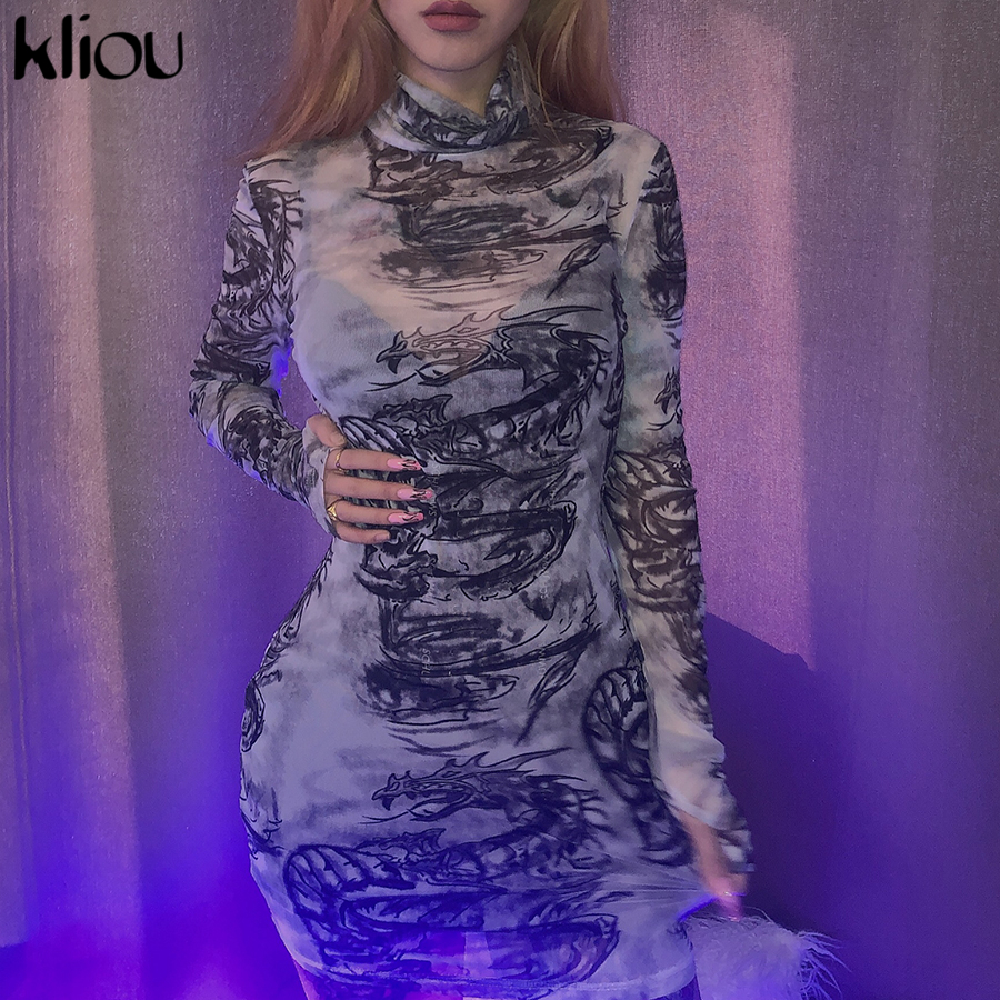Kliou women turtleneck dress sexy mesh material print slim skinny dresses autumn new long sleeve female fashion skinny outfits 4