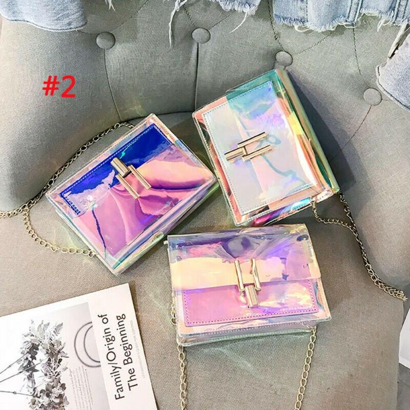 Модные женские сумки через плечо, прозрачная сумка с лазерной цепочкой, летняя пляжная сумка, сумочка