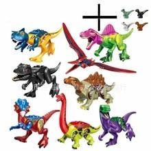 12Pcs Jurassic World Dinosaurs Tyrannosaurus Rex Pterosauria Triceratops Building Blocks Toys For Children Dinosaur