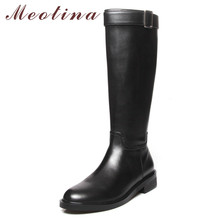 Meotina Winter Riding Boots Women Natural Genuine Leather Zip Block Heel Knee High Boots Buckle Round Toe Shoes Lady Fall 33-43 цена