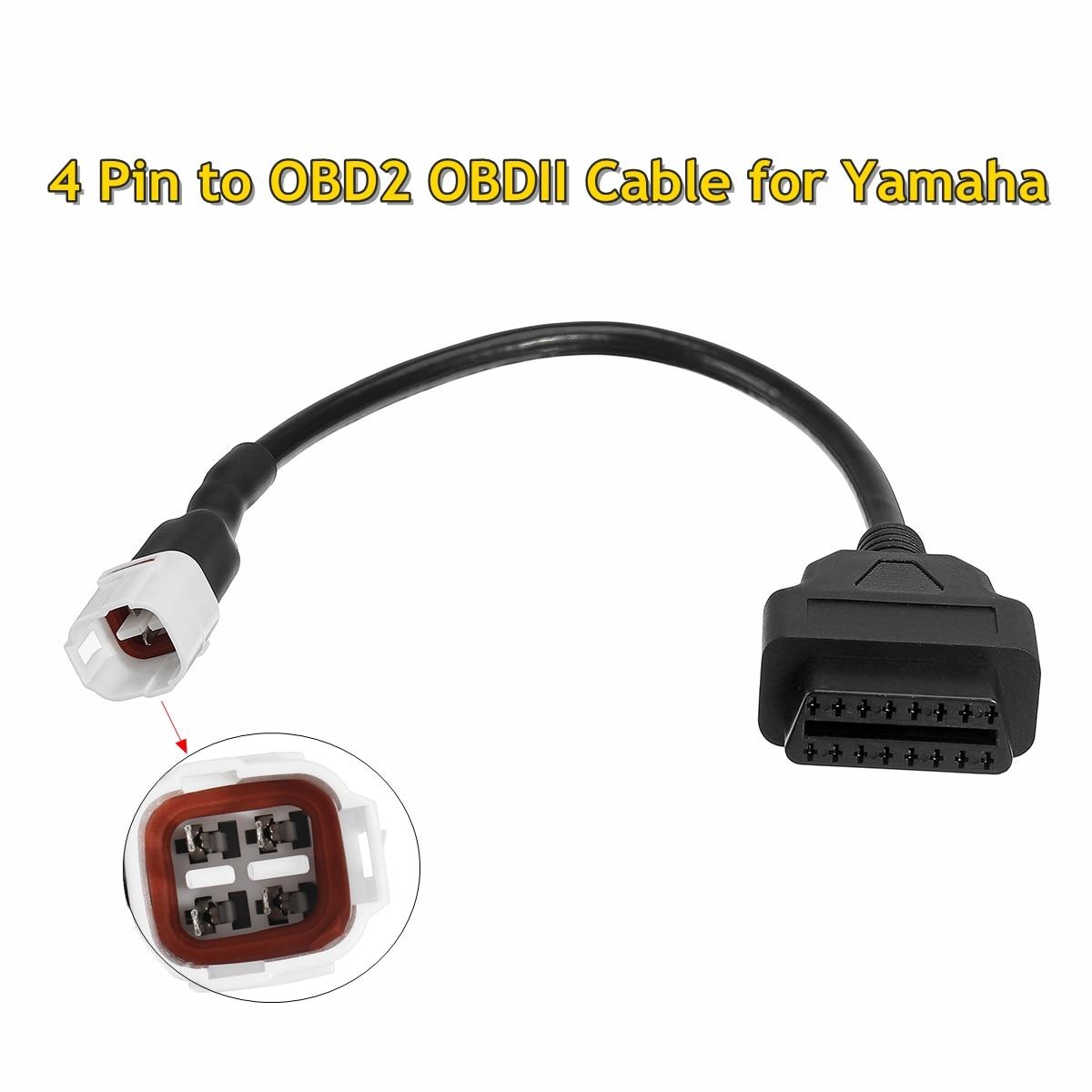 Nuevo adaptador de arnés de Cable OBD2 OBDII de 4 pines de diagnóstico para Yamaha FJ09, FZ09, MT09, FZ-10, MT-10, XSR900, R6, R1, 900/GT ETC. Coche Mini portátil ELM327 V2.1 OBD2 II Bluetooth diagnóstico coche Auto interfaz escáner azul Premium ABS herramienta de diagnóstico