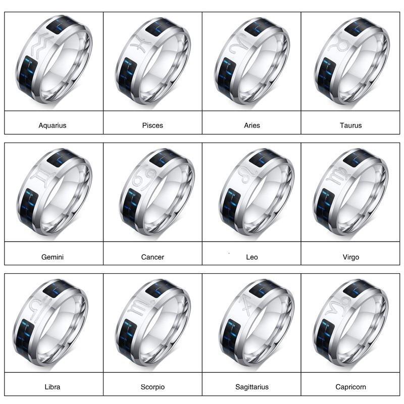 Vnox Mens Vintage Zodiac 12 Konstellationen Ring Edelstahl mit Blau Carbon Horoskop Männlichen Astrologie Anel Allianz