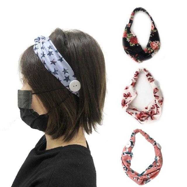 Sweat Hair Bands Head Belt Flower Mask Anti-earache Girls Women Yoga Running Fitness Sports Hair Accessories 2