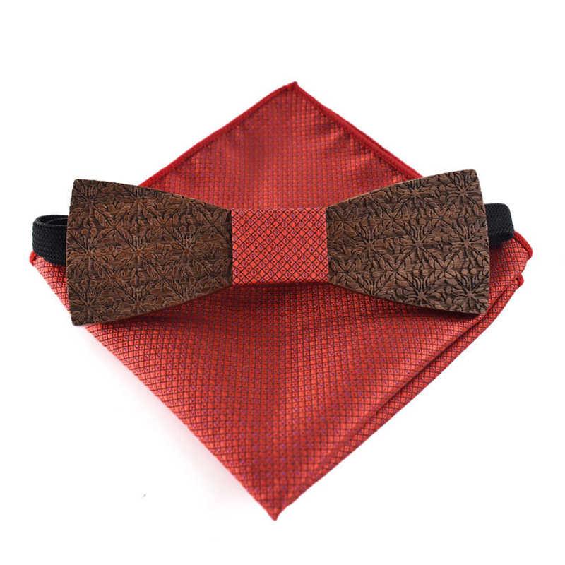 رابطة خشبية اليدوية رايون منشفة مربعة الشكل مجموعة الرجال للجنسين الكبار دعوى الأعمال الزفاف عالية الجودة الخشب ربطة العنق الهدايا الكلاسيكية