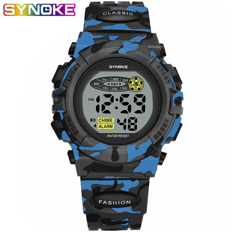 SYNOKE Military Kids Digital Watches Sports Children's Watch Fashion LED Colorful Lights Camouflage Boy Clock Relogio Infantil