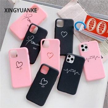 Amor corazón de silicona para Samsung Galaxy S20 FE S10 S9 S8 más S7 S6 borde S10E Nota 20 10 Pro Lite suave TPU casos