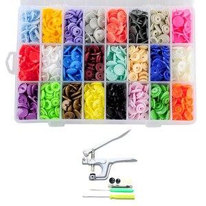 360 Uds 24 colores T5 botones de remaches de resina con 1 Uds alicates de presión de la mano Kit de herramientas de costura para el hogar DIY Proyecto de artesanía hecha a mano