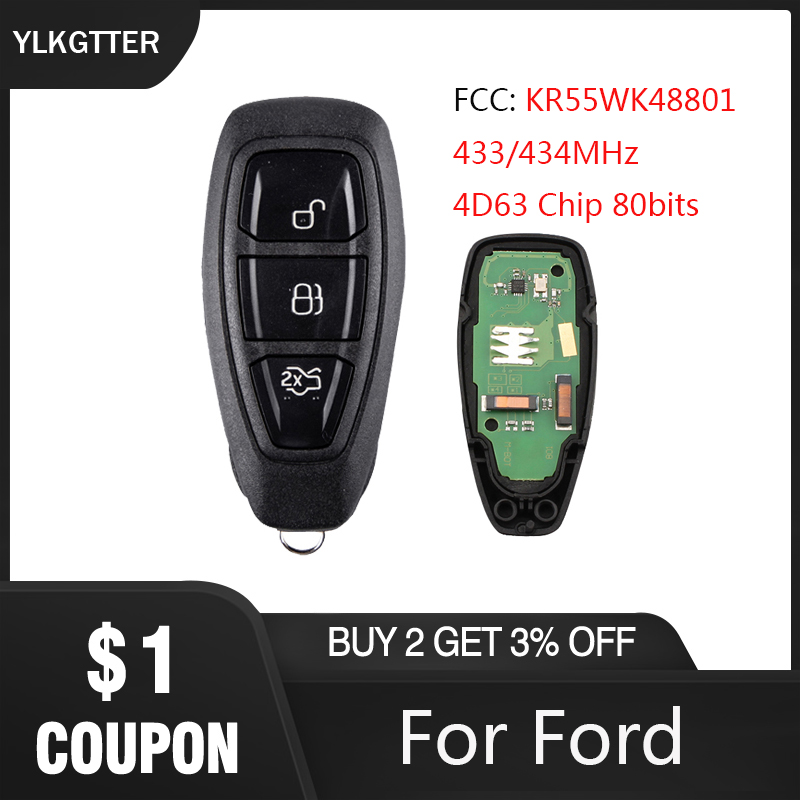 Llave remota inteligente YLKGTTER 433/434MHz sin llave para Ford Mondeo c-max Focus Kuga Fiesta B- max 4D63 80Bit Chip para Ford KR55WK48801