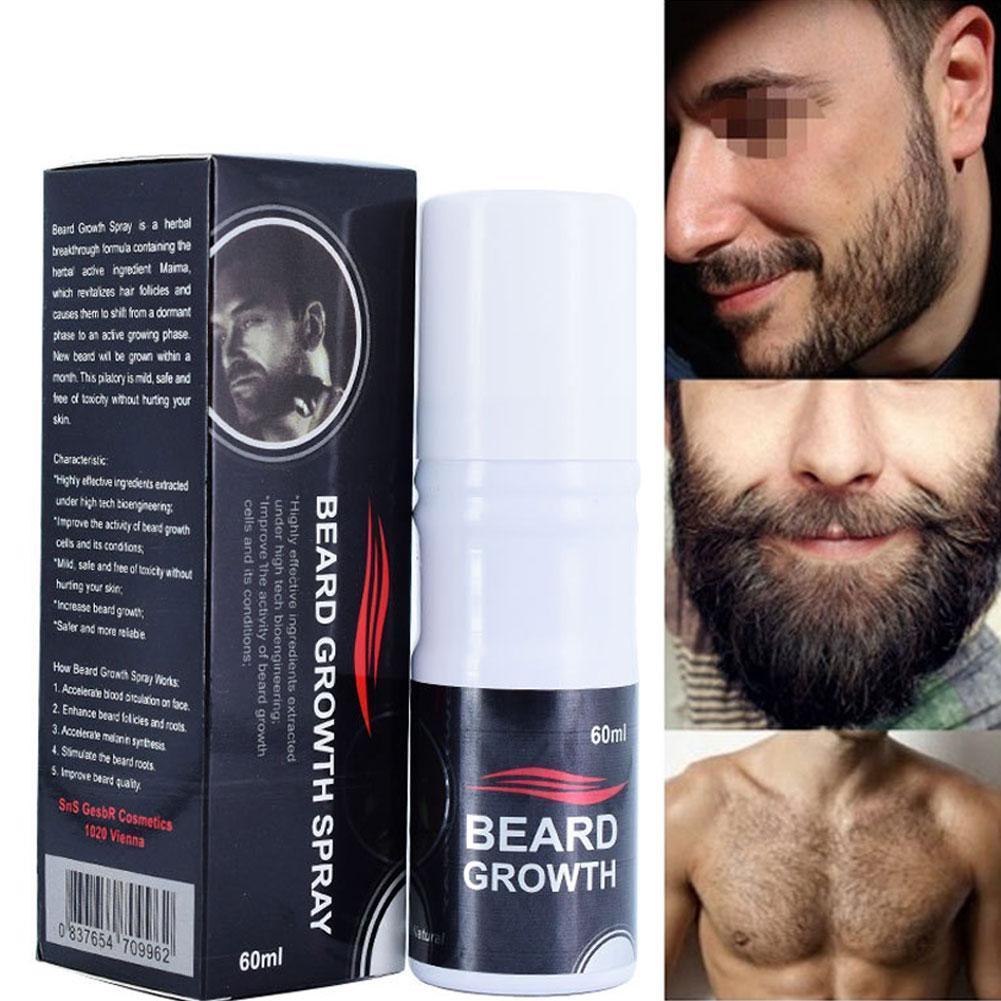 100% Natural Accelerate Beard Growth Oil Anti Hair Grow Growth Beard Loss HOT Men Spray Beard 60ml Hair Facial Grower Stimu F6J6
