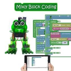 NIEUW! Keyestudio DIY 4-DOF Robot Kit Kikker Robot voor Arduino Nano Grafische Programmering/Ondersteuning IOS & Android APP Controle