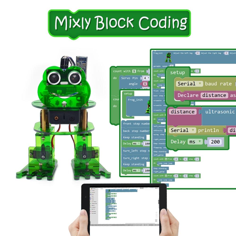 NOUVEAU! Keyestudio bricolage 4-dof Robot Kit grenouille Robot pour Arduino Nano programmation graphique/Support IOS & Android APP Control