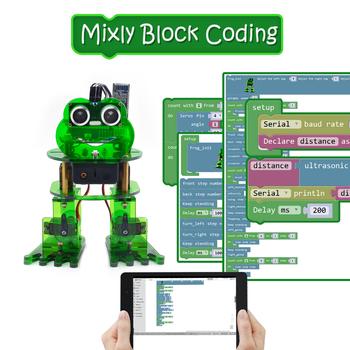 Nowy! Keyestudio DIY 4-DOF zestaw z robotem żaba Robot dla Arduino Nano graficzne programowanie wsparcie IOS i aplikacja na androida kontrola tanie i dobre opinie CN (pochodzenie) Napęd ic Frog Robot Elektryczne zabawki