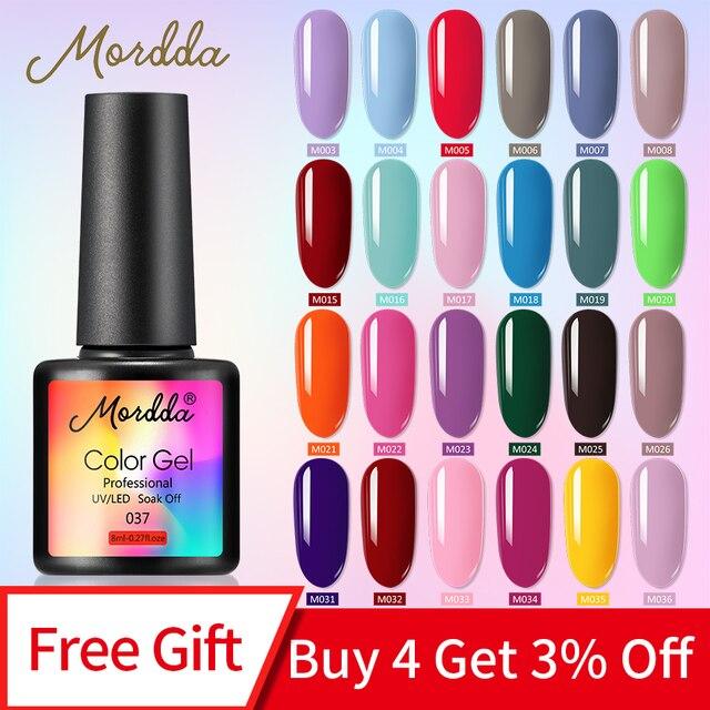MORDDA 8 ML Gel Polish UV LED Nail Varnish For Manicure 60 Colors Gel Lacquer Semi Permanent Gel Paint Nail Art DIY Design Tools