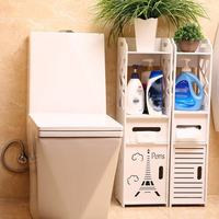Durable White Wooden Bathroom Shelf Floor Storage Cabinet Supplies Vanity Toilet Sideboard Rack Bathroom Tissue Box Drawer