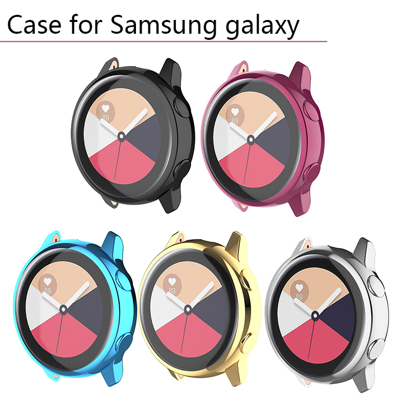 Waterproof TPU Smart Watch Case Cover Electroplated Protective Shell for Samsung Galaxy Watch Active SM R500 Bumper Protector in Smart Accessories from Consumer Electronics