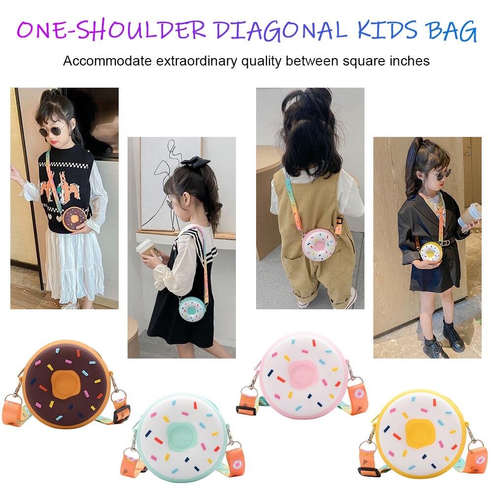 Kids Cute Doughnut Shoulder Bag Silicone Children Candy Zipper Crossbody Handbag for Household Caring Children Ornament