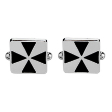 1 Pair New Simple Style Black Rectangle Cufflinks Mens Shirt Cuff Button Christmas Gifts for Men Silver Plated Cuff link pair of stylish coconut tree shape silver alloy cufflinks for men