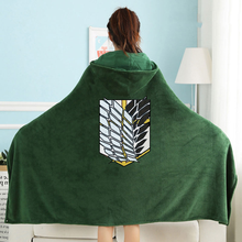 2021 Attack On Titan Flannel Blanket Cloak Shingeki No Kyojin Survey Corps Cape Cloak Cosplay Costume Hoodie With Real Photos