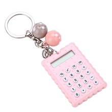 Mini Portable Cute Cookies Style Key Chain Calculator Candy Color Pocket Calculator Pink