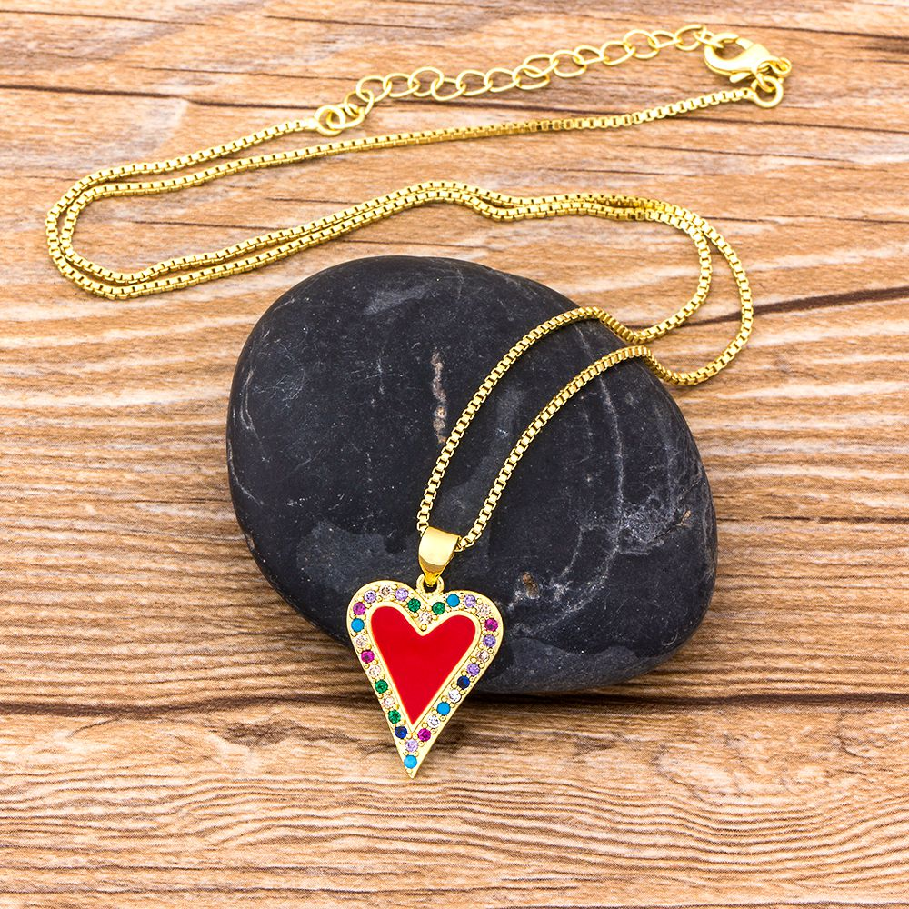 Classic Heart Pendant Necklaces Women Men Hip Hop Jewelry Red/Black/White Color Include Chain Rhinestone Necklace Gifts