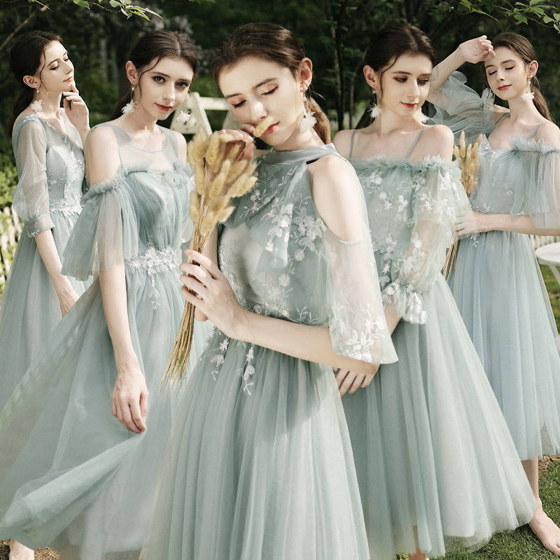 Bridesmaid Dress Water Green Embroidery Appliques Women Wedding Guest Gowns Sexy Boat Neck Spaghetti Straps Formal Vestido R038