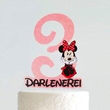 Персонализировать Минни Маус в красный горошек возраст Вдохновленный торт Топпер с именем; Пользовательские возраст мышь день рождения Топпер/центральный элемент