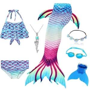 Image 5 - Hot Girls Swimming Mermaid Tail Cosplay Mermaid Costume Swimsuit With or No Monofin Fin Flipper Kids Swimmable Children Swimwear