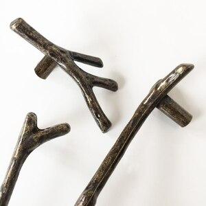 Image 3 - AOBT poignées de branche darbre Antique, boutons pour placard, argent 3D nouveauté créative, poignées de meubles à la mode