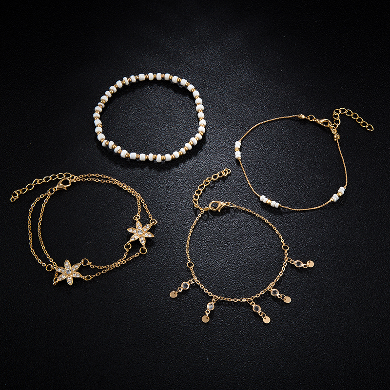 Bohemian jewelry Fashion Gold Chain Ankle Bracelet for Women Star Pendant Handmade Chain Anklet 4pcs/Lot Foot Jewellry 1