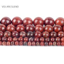 """Natural Red Jaspers Stone Round Loose Beads For Jewelry Making 4-12mm Spacer Fit Diy Bracelet Necklace Accessory 15""""Strand"""
