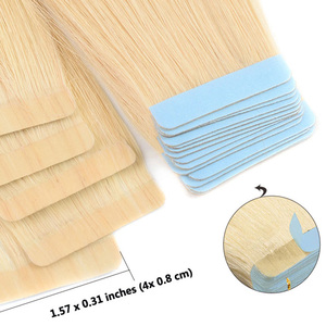 Image 2 - الشريط لحمة الجلد في ملحقات شعر بشري حقيقي آلة صنع ريمي غير مرئية مزدوجة من جانب الشريط الأزرق الألوان الداكنة للشعر رقيقة