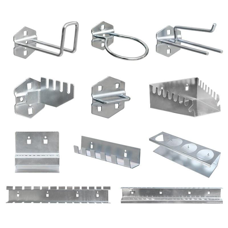 WORKBRO Hardware Hook Storage Rack Parts Galvanized Steel Woodworking Pegboard Power Hand Organize Tool Wall Box Bag