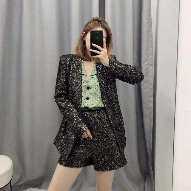 ZA suits women two piece set sequined shiny bright blazer&sequined shorts high waist female woman party club clothes 4