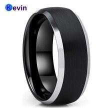 Черный вольфрамовый Свадебный ремешок для мужчин и женщин с