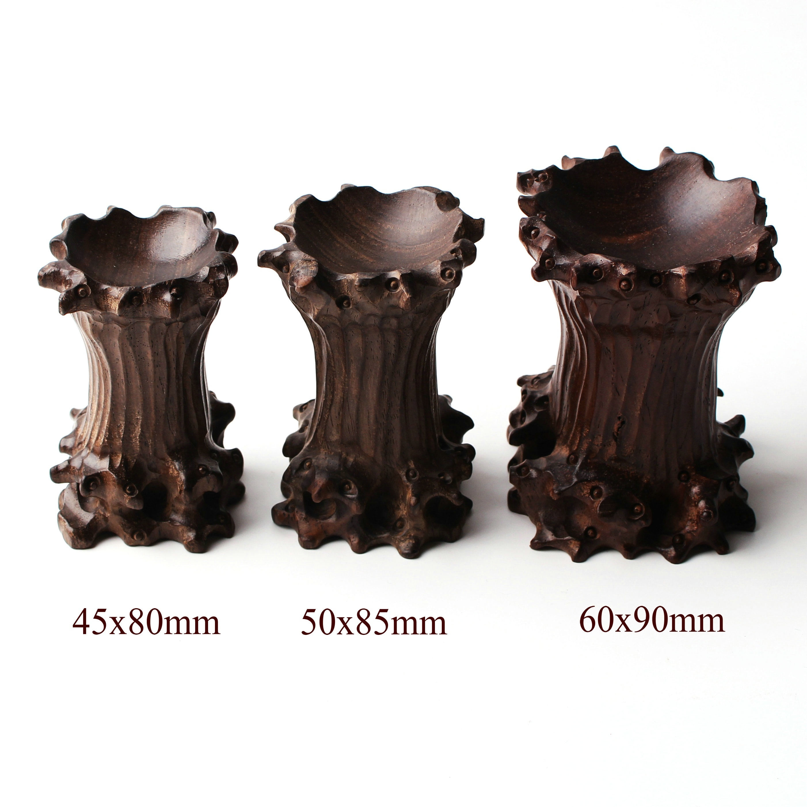 Lot 2pcs Wood Stand Pedestal Holding Crystal Sphere Ball!use 100-150MM ball