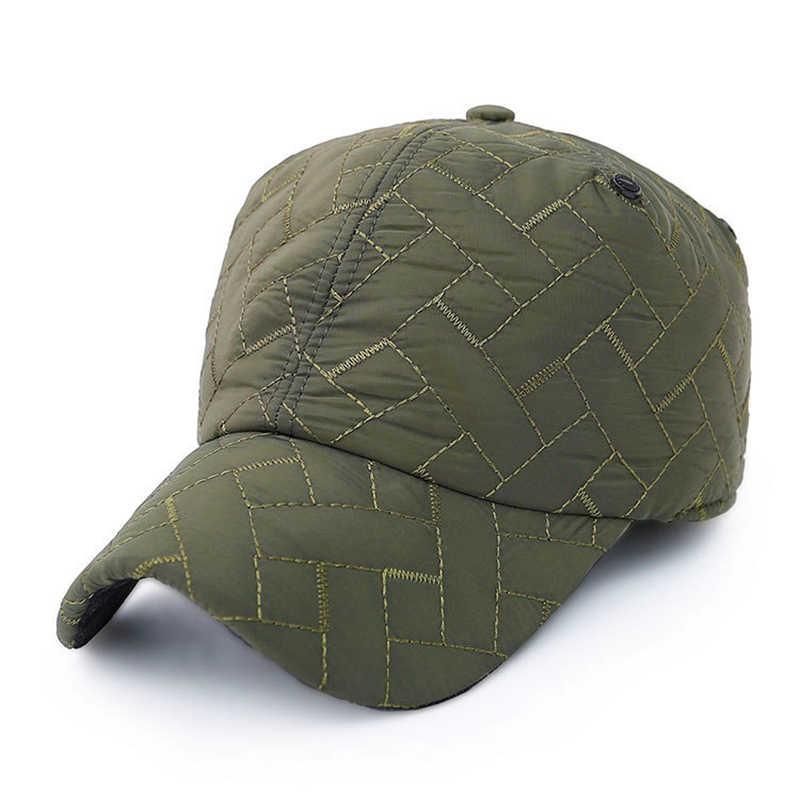 Sonbahar kış beyzbol şapkası erkekler için spor beyzbol şapkası erkek kalınlaşmak sıcak şapka Earflaps ile baba şapka rus sıcak beyzbol şapkası s