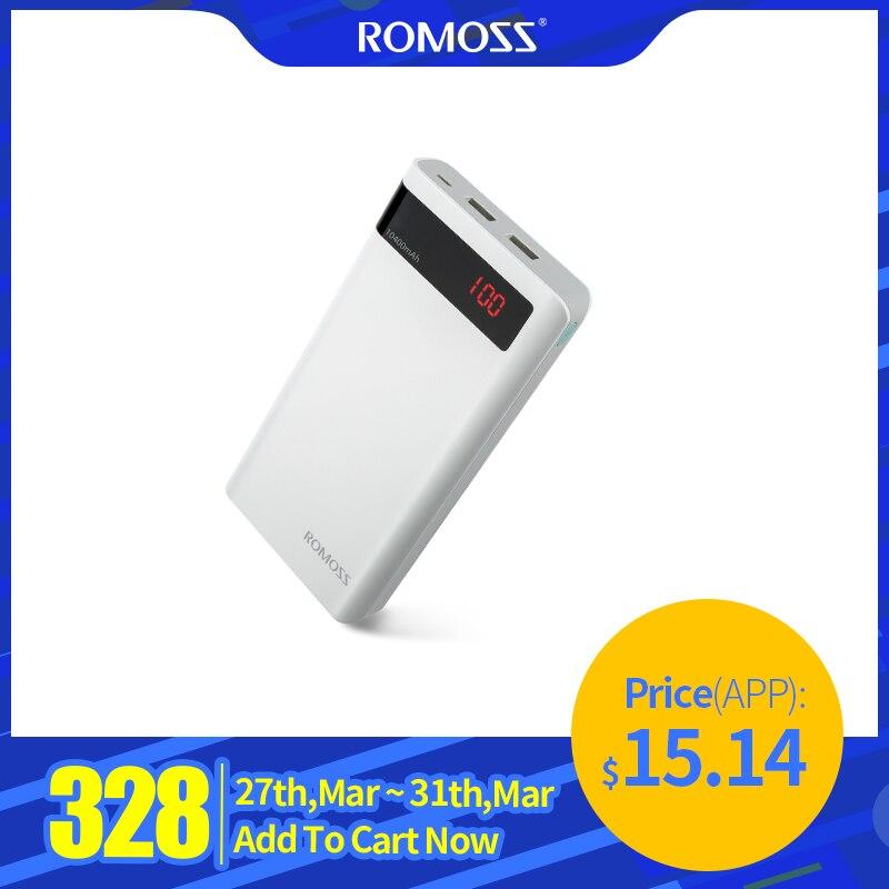 20000 mah romoss sense 6 p power bank dupla usb portátil bateria externa com display led rápido carregador portátil para telefones tablet