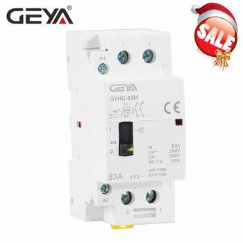 цена на GEYA Manual Household Modular 2P 40A 63A 2NO or 2NC  DIN Rail AC Contactor AC220V 230V Manual Control