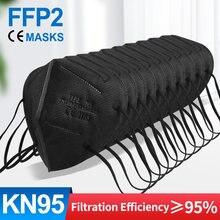 5-100 pces ffp2mask preto kn95 mascarillas negra adultos 5 camadas fpp2 aprovado kn95 ce respirador máscara facial ffp2reutilizável ffp3