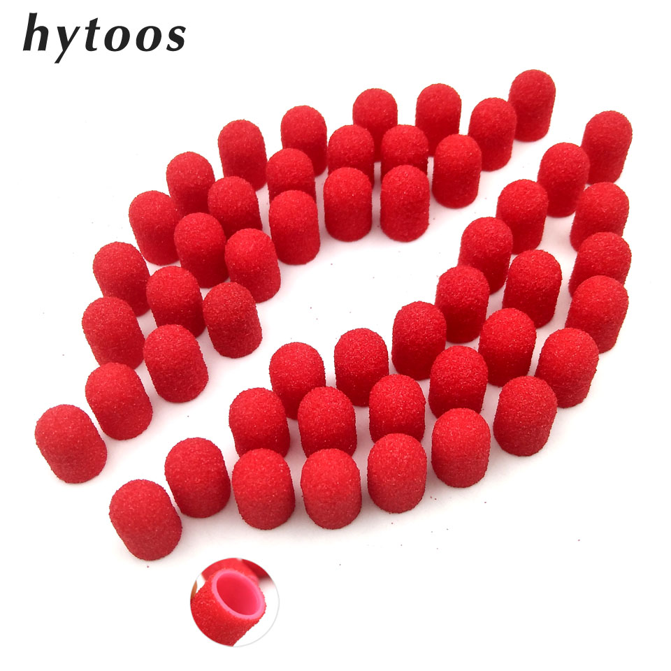 50Pcs 7*13mm Plastic Base Red Sanding Caps With Grip Pedicure Care Polishing Sand Block Drill Accessories Foot Cuticle Tool