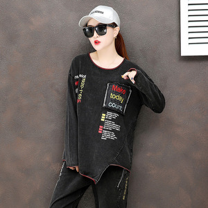 Image 5 - מקסימום לולו 2019 סתיו אופנה קוריאני גבירותיי חולצות ומכנסיים נשים פאנק שתי חתיכות סטי תלבושות מזדמנים רקמת בגדים בתוספת גודל