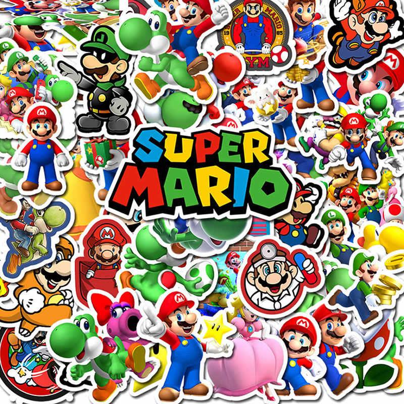 50 teile/paket PVC Cartoon Super Mario Kinder Wasserdichte Aufkleber Koffer Gitarre Skateboard Motorrad Graffiti Aufkleber Kinder Spielzeug