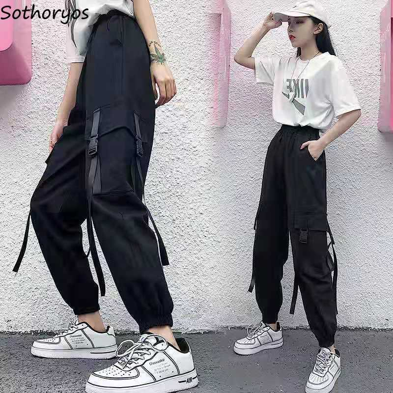 Women Cargo Pants Harajuku Korean Loose Streetwear Chic Student Retro Casual Ankle-length Simple Unisex Comfortable All-match BF