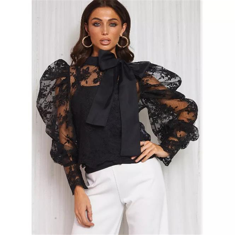 Women Bow Knot Long Sleeve See Though Tops Holiday Party Shirt Loose Blouse Tee