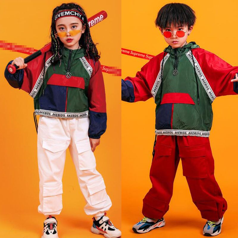 Kids Cool Hip Hop Clothing Colors Jacket Coat Top Running Casual Pants For Girls Boy Jazz Dance Costume Ballroom Clothes Wear
