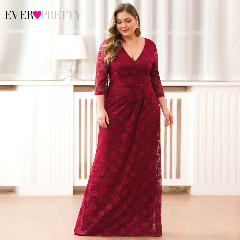Elegant Evening Dresses Long Ever Pretty EZ07682 Autumn Winter Mermaid Half Sleeve Full Lace Dress Party Gowns Abendkleider
