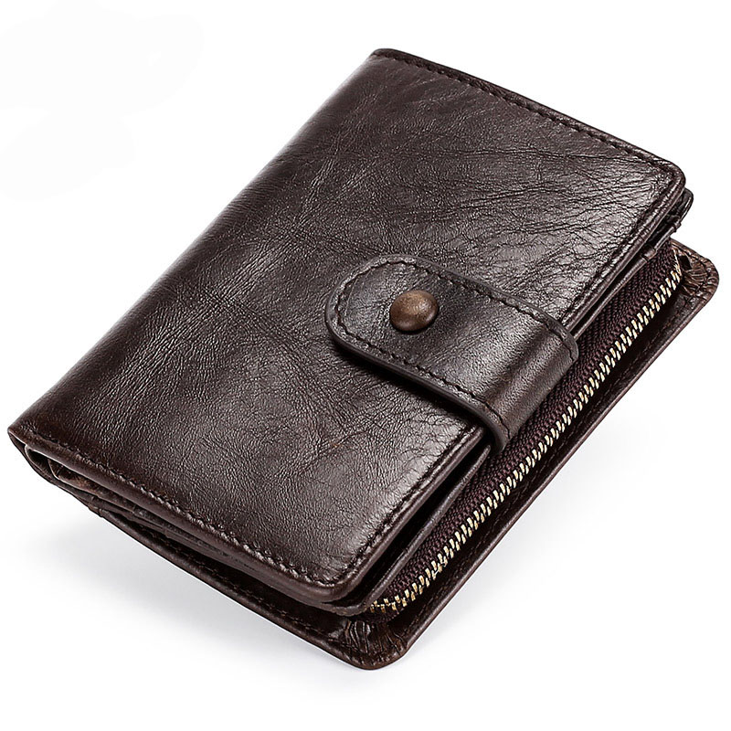 Vintage Genuine Leather Men's purse Large Capacity Men's wallets Multi slots Small wallet Zipper Hasp Men's business card holder