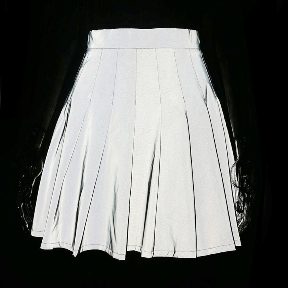 Imcute Fashion Women Girl Reflective School High Waist Skirt Ladies High Street Pleated Skirt Clubwear Nightwear Fashion