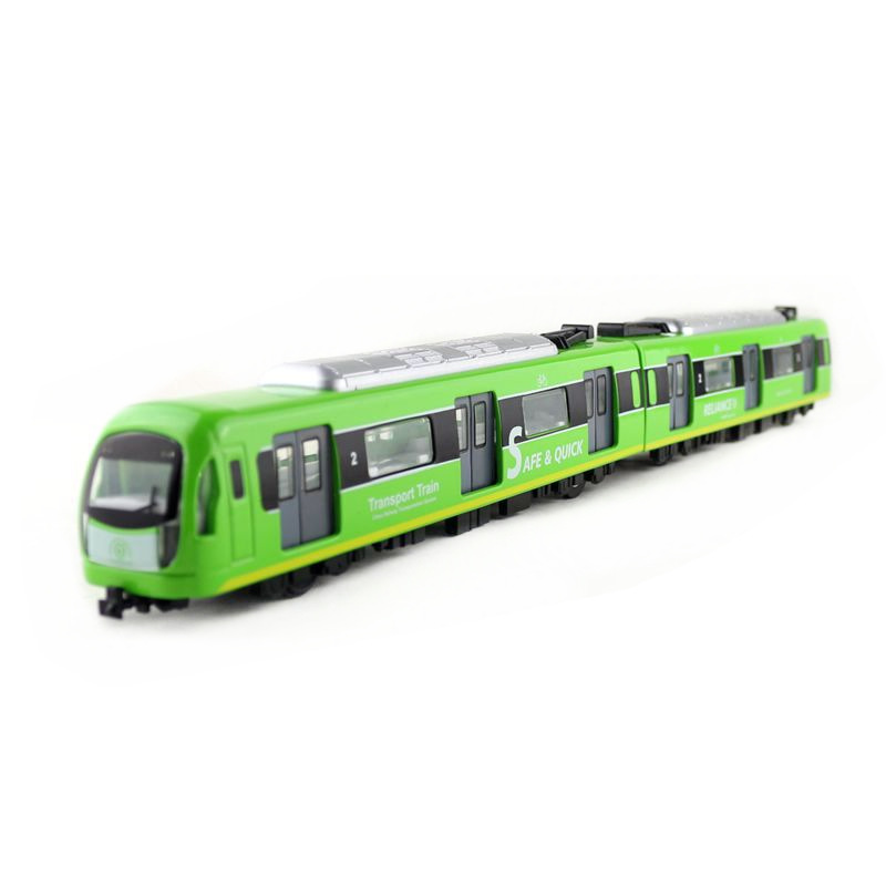 Diecast Metal Toy/Sound & Light Pull Back Educational Car/City Transport Subway Train Set/For Children's Gift Or Collection
